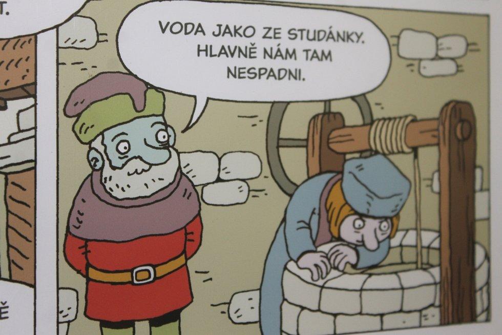 V břeclavské knihovně je výstava komiksově zpracovaného příběhu Jana Husa.