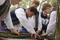 Mladí muži z němčičské chasy se pustili do pletení více než desetimetrové pomlázky.