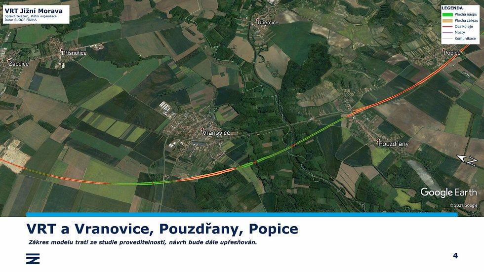 Vysokorychlostní trať Jižní Morava. Zákres modelu trati.