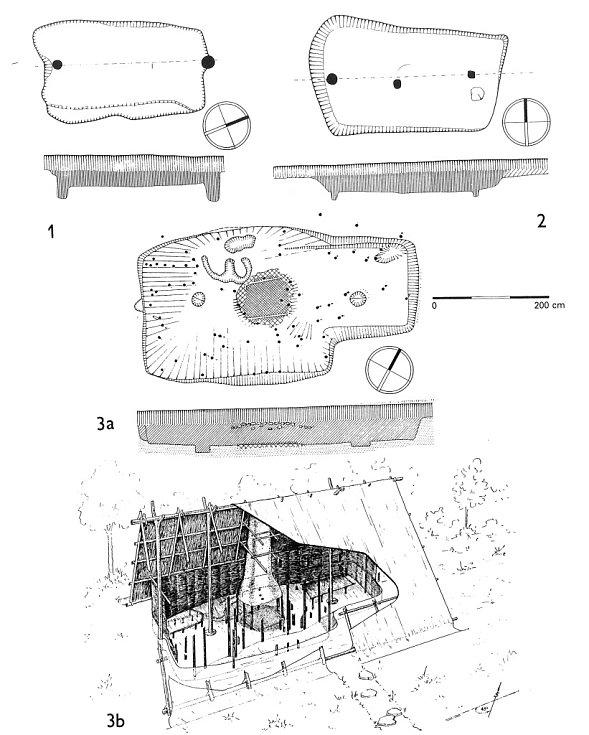 Příklady archeologicky zachycených půdorysů zahloubených obydlí a rekonstrukce