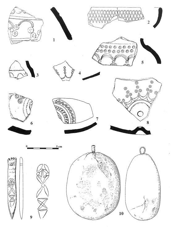 Příklady výzdobných motivů kolkované keramiky počátku doby laténské a kostěné razidlo