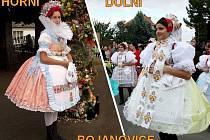 Obce odlišuje řada ukazatelů včetně krojů. Vlevo je z Horních, vpravo z Dolních Bojanovic.