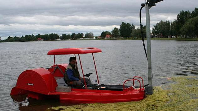 Správa autokempu Merkur v Pasohlávkách v úterý 1. června 2010 poprvé vyzkoušela na Velké laguně speciální žací loď, která zbaví vodní plochu vodních rostlin. Má dosah až dva metry pod hladinou.