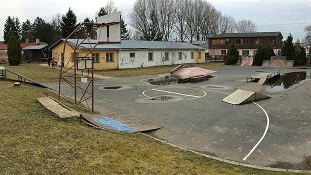 Stávající podoba skateparku v Hustopečích.