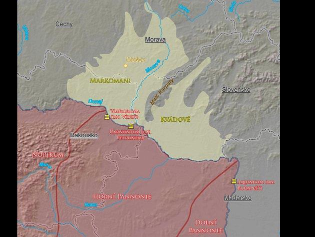Sídelní území Markomanů a Kvádů a římské provincie na středním Dunaji.