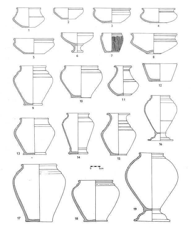 Příklady tvarů keltské keramiky vytáčené na hrnčířském kruhu z období kostrových pohřebišť