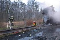 Hořící kamiony na dálnici D2.
