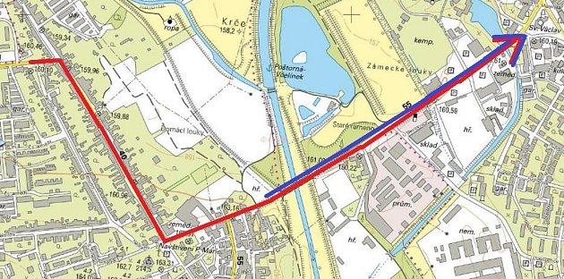 Martin Václavík navrhuje změnit jedinou silniční spojku mezi centrem Břeclavi a městskou částí Poštorná ze dvouproudé na čtyřproudou. Červená čára ukazuje délku a směr dopravní kolony vdobě špičky. Modrá čára označuje úsek navrhovaný krozšíření.
