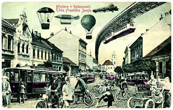 Pohlednice zachycující možnou budoucnost Břeclavi, jak si ji představovali lidé na přelomu 19.a 20.století se srealitou minula. Vzducholodě inadzemní dráha se ve městě nikdy neobjevily.