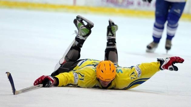 Břeclavští hokejoví fanoušci (ve žlutém) si zahráli proti svým oblíbencům.