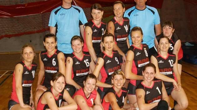 Vítězný tým volejbalistek Lokomotivy Břeclav.