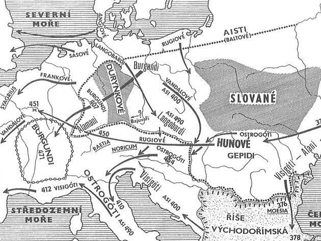 Schéma stěhování národů v Evropě (podle: Podborský 2008: Dějiny pravěku a rané doby dějinné).