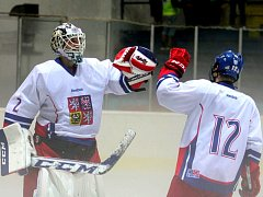 Mladí čeští hokejisté se radují z vítězství.