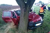 Tři lidé se zranili v pátek před pátou hodinou odpoledne u Bořetic. Osobní auto značky Fiat tam sjelo ze silnice a čelně narazilo do stromu.