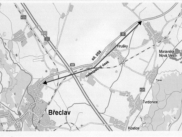Tři zrádné křižovatky mezi Břeclaví a Hodonínem