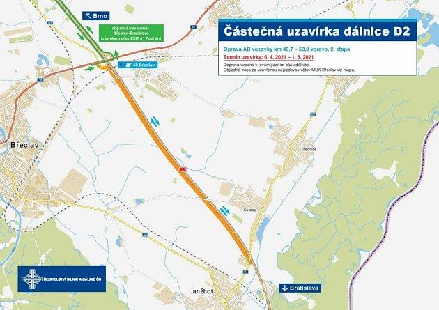 Od úterý silničáři opravují dálnici D2 uBřeclavi.