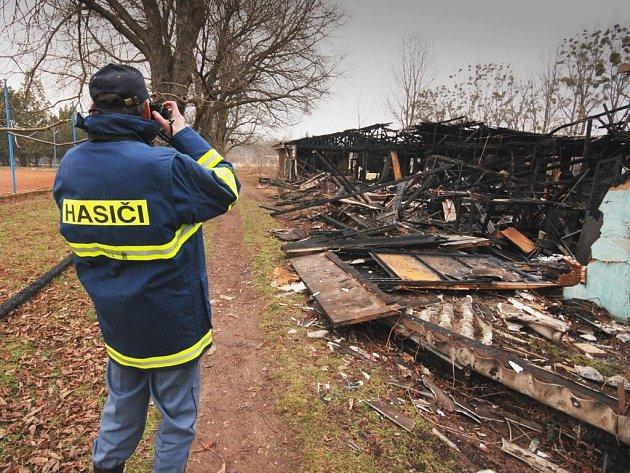 Budova v areálu Slováckého tenisového klubu po požáru.
