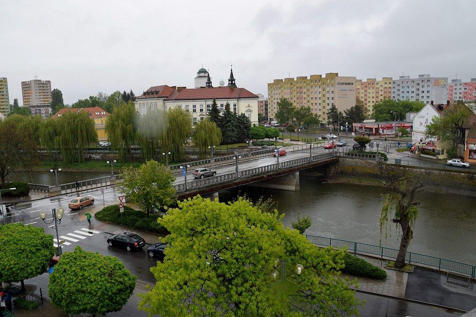 Pohled ze střechy kulturního domu na Břeclav