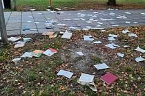Vylomená dvířka z pantů a všude okolo rozházené knihy. Vytrhané stránky na zemi. Tak dopadla knihobudka poblíž kostela v břeclavské Poštorné, kterou v noci na úterý rozbil neznámý vandal.