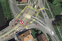 Břeclavští uzavřou přechod pro chodce na křižovatce u řeky Dyje.