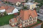 Pohled na Břeclav z věže poštorenského kostela.