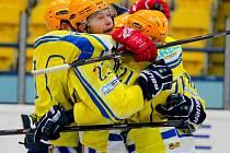 Břeclavší hokejisté (ve žlutém) si po sedmi zápasech mohli užít výhru.