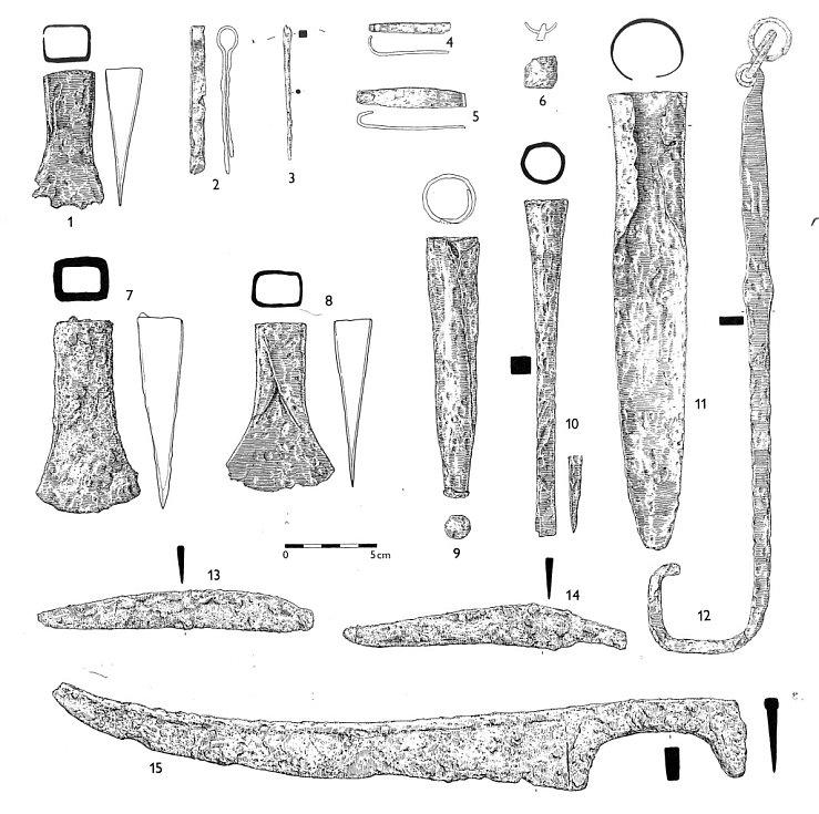 Ukázky železných předmětů nalezených v depotu na hradisku Černov u Ježkovic