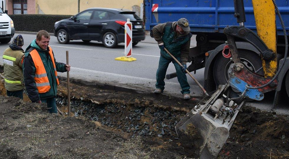 Křižovatka v Sovadinově ulici v Břeclavi