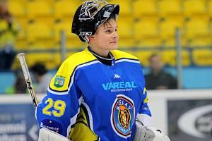 Hokejový brankář Dominik Gerža v Ice Bors Areně břeclavských Lvů.