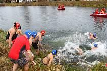 Jednatřicet zimních a šestnáct ploutvových plavců se vrhlo na druhý svátek vánoční do vln řeky Dyje v Břeclavi. Při akci Vánoční kilometr.