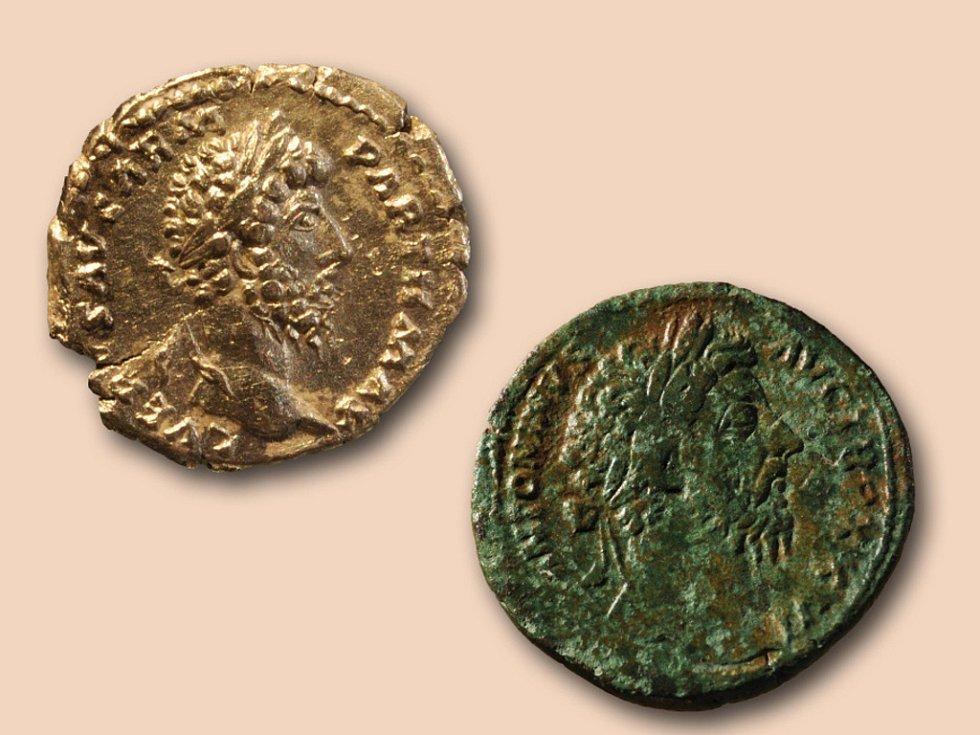 Vyobrazení císaře Marca Aurelia na mincích z Hradiska u Mušova