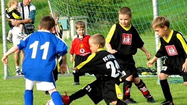 Nejen nejmladší fotbalové naděje mikulovské Pálavy (v černém) dělají svým trenérům letos radost.