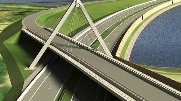 Vizualizace plánovaného mostu přes silnici R52.