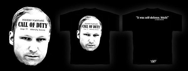 Černé triko sBreivikem už obviněný prodejce stáhl zprodeje.