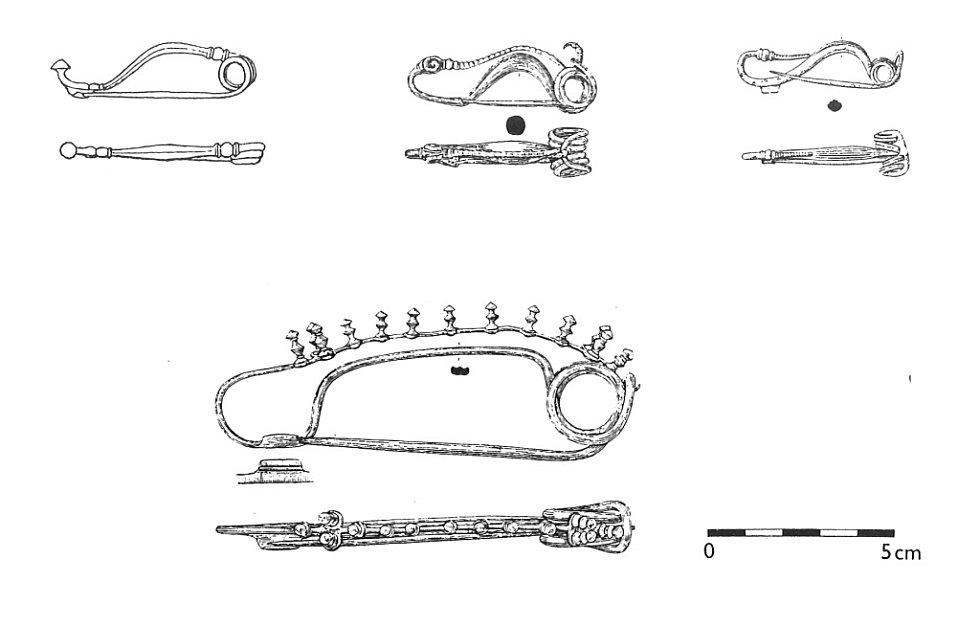 Příklady spon z počátku doby laténské