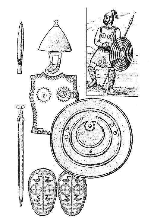 Nálezy součástí bronzové zbroje kultur popelnicových polí a rekonstrukce vzhledu vysoce postaveného bojovníka (podle: Podborský 2008: Dějiny pravěku a rané doby dějinné).