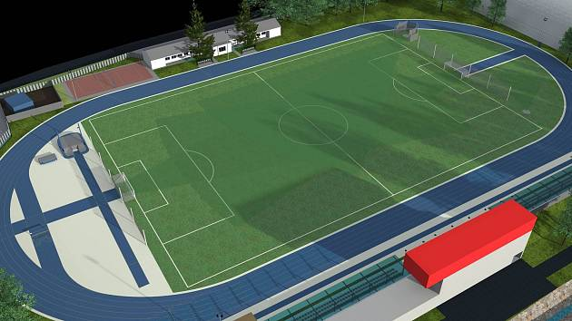 Náhled, jak bude přibližně vypadat plánovaný atletický a fotbalový areál v Hustopečích.