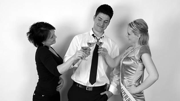 Velkobílovický vinař František Bílek se svou matkou a sestrou.