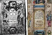 Předválečná fotografie titulního listu rukopisu Přechod řeky Jabok (1748). Vpravo další židovská iluminace z Mikulova.