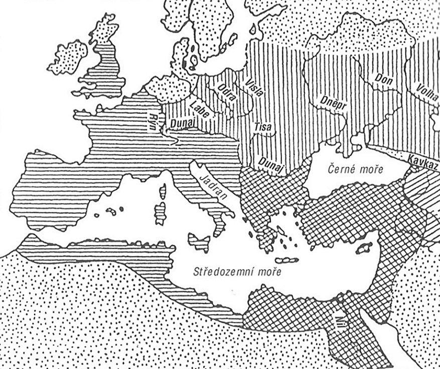 v Evropě okolo poloviny pátého století našeho letopočtu (podle: Bednaříková 2003: Stěhování národů).