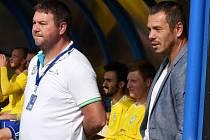 Vladimír Malár (vpravo) se objevil na břeclavské lavičce po boku Milana Hoffmanna už v posledním soutěžním duelu s Bystřicí nad Pernštejnem.