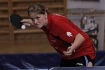 Břeclavské stolní tenistky (v modrém) doma nedokázaly proměnit mečbol.