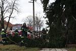 V Břeclavi museli zasahovat hasiči i s jeřábem. Vzrostlý smrk u malého rodinného domu vichřice vyvrátila a spadl na dráty elektrického vedení, které ho zachytili. Hasiči ho museli přidržet jeřábem a postupně rozřezávat od spodu.