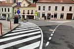 Křižovatka ulic Pavlovská, Česká a Kostelní náměstí se dočkala zvýraznění dopravního značení. Cílem je zvýšení bezpečnosti v centru Mikulovafoto: město Mikulov