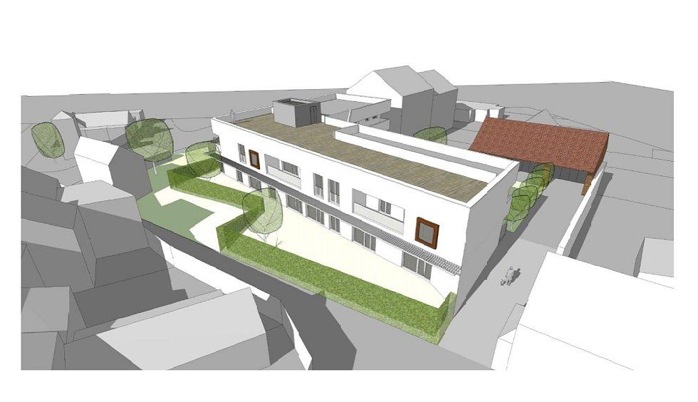 Třetí nejlidnatější kraj v republice je ten Jihomoravský. Na snímku vizualizace bytového domu v Rakvicích ve Dvorní ulici.