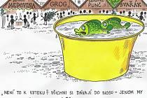Kreslíř Milan Kocmánek z Lanžhota vystaví své humorné obrázky v Městské knihovně Břeclav.