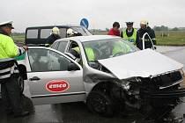 Dopravní nehoda u břeclavského dálničního nájezdu