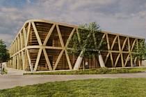 Vítězný návrh parkovacího domu v Břeclavi od brněnského architektonického ateliéru P.P. Architects.