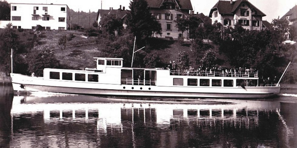 Po Horní nádrži vodního díla Nové mlýny se bude plavit Munot. Loď vyrobená v roce 1936 ve Švýcarsku.