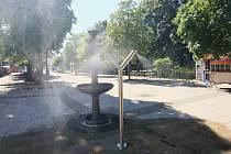 Mlžítko funguje na pěší zóně v Břeclavi.